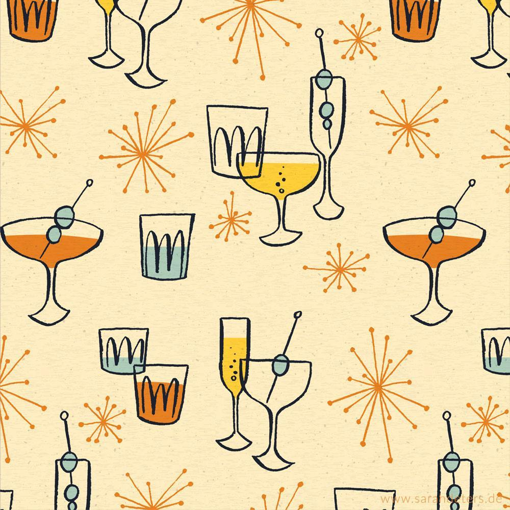 Muster Midcentury Cocktails pattern design