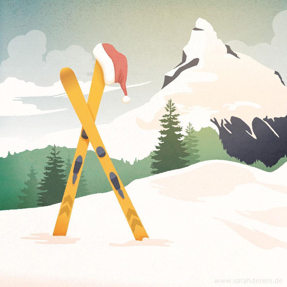 Mailing Weihnachten Illustration Vintage-Stil Skifahren Papeterie
