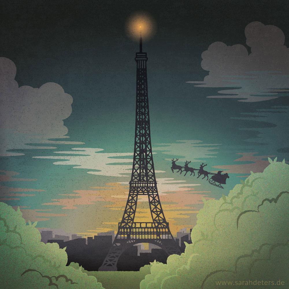 Weihnachten Illustration Mailing Paris Eifelturm Weihnachtsmann Papeterie