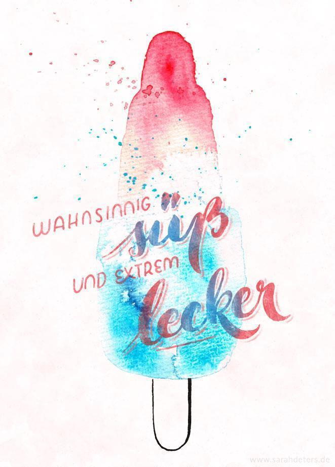 sweet popsicle watercolor aquarell hand-lettering postcard stationery