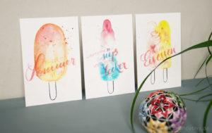 postcards stationery watercolor lettering papeterie