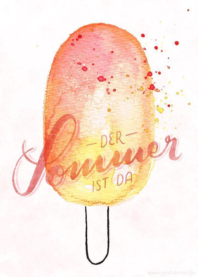 hand-lettering watercolor popsicle summer stationery