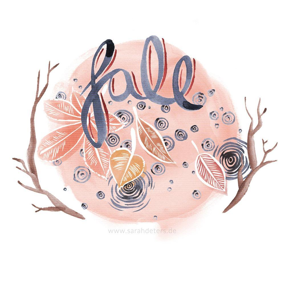 Herbstliche Illustration mit Laub Aquarell Hand-Lettering surface design