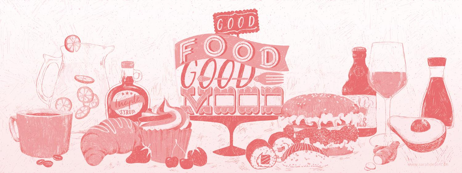 Food Illustration Lettering Good Food Good Mood