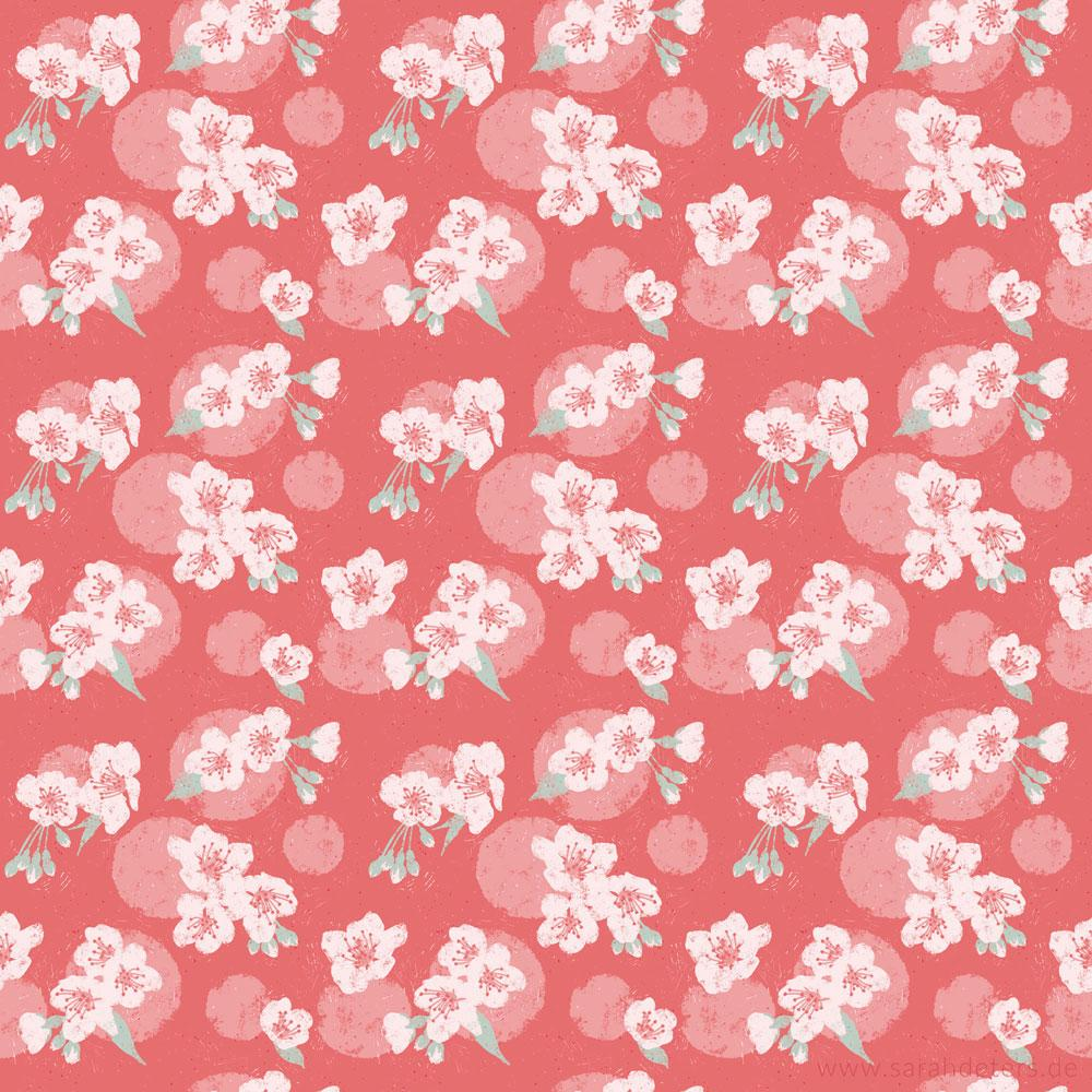 Muster Kirschbluete surface pattern design