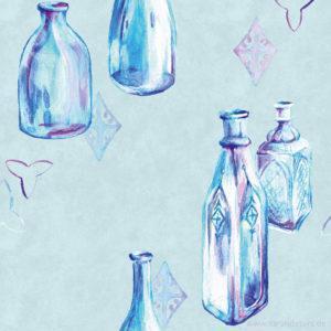 Vintage Bottles Pattern Design Sarah Deters