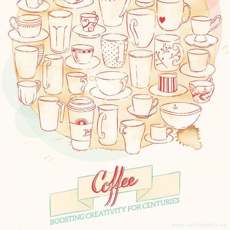 Poster Grafik Kaffee Tassen