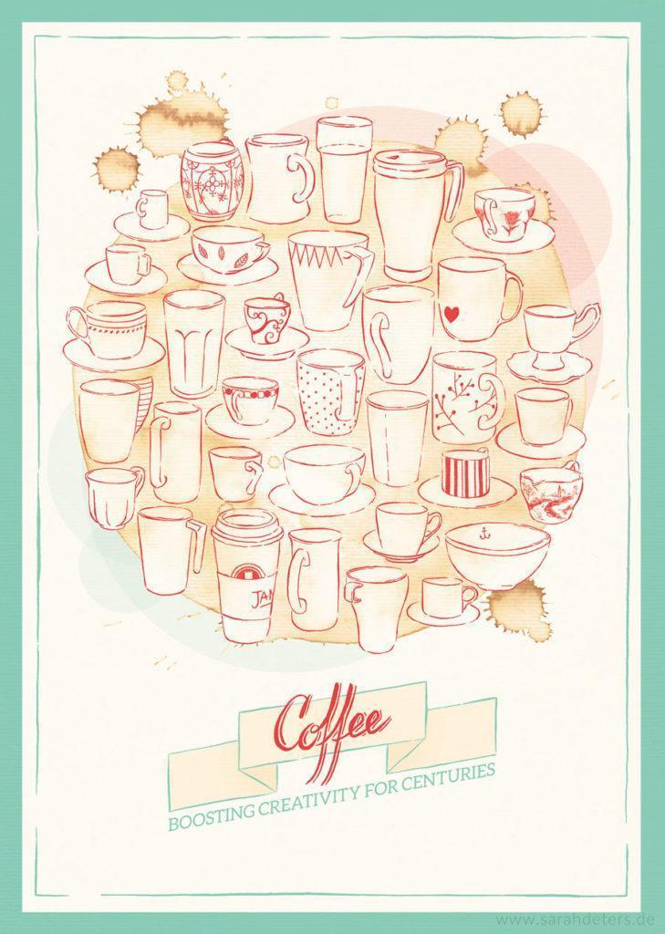 Poster Grafikdesign Kaffee Tassen Stationery Papeterie