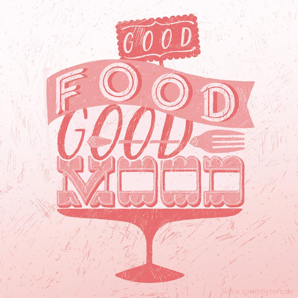 hand-lettering illustration good food good mood stationery papeterie