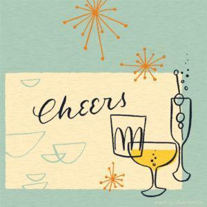 Grußkarte Cheers Let's Celebrate Sarah Deters