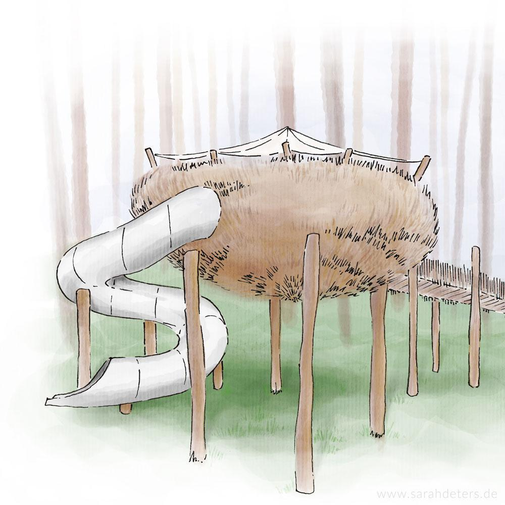 Naturlehrpfad Nest Illustration