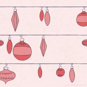 Vintage Ornaments Muster mit Weihnachtskugeln Sarah Deters