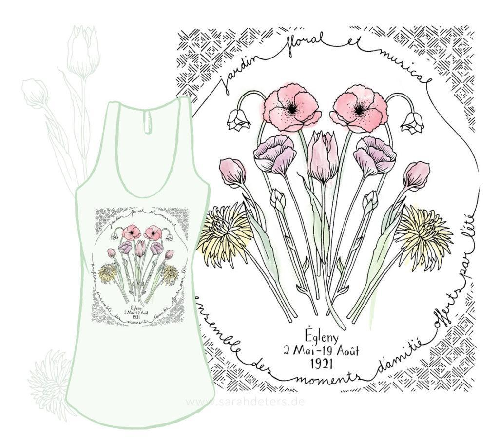Placement Print Jadin floral illustration