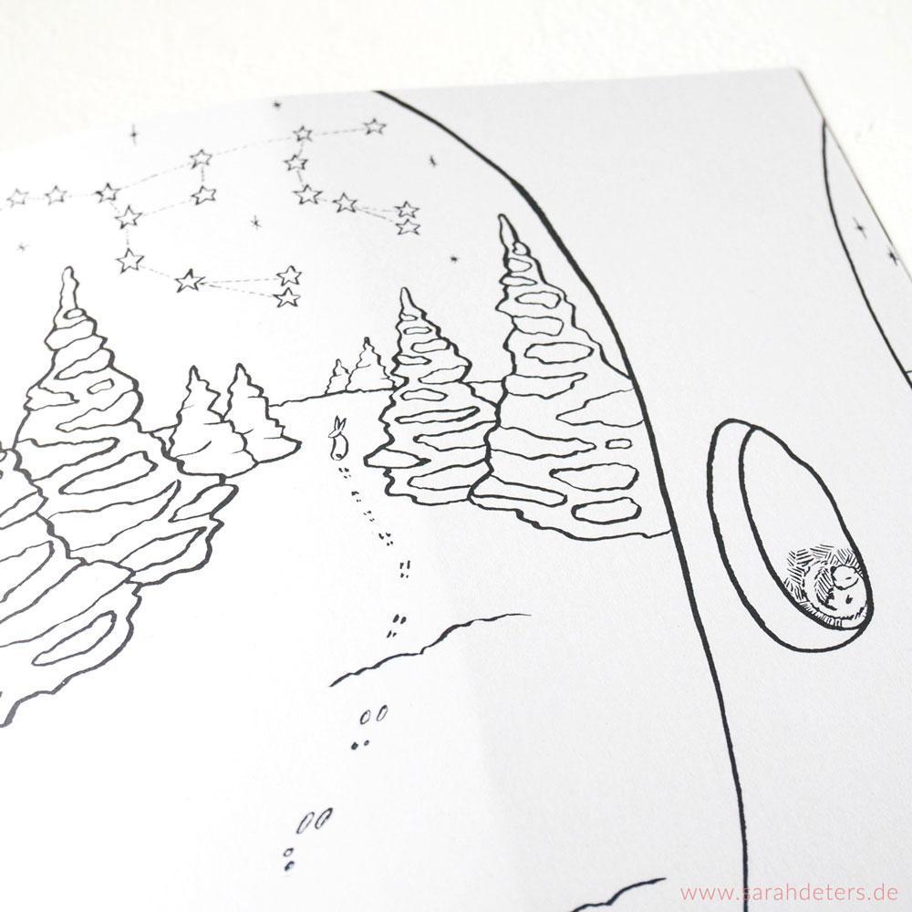 Malbuch Sternbild Großer Wagen im Winter Illustration Sarah Deters