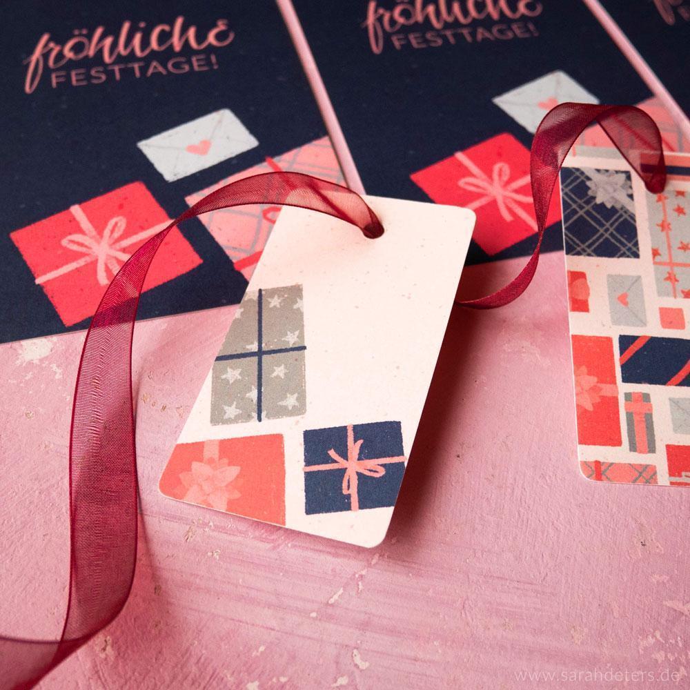 Moderne Geschenkanhänger mit festlichem Muster