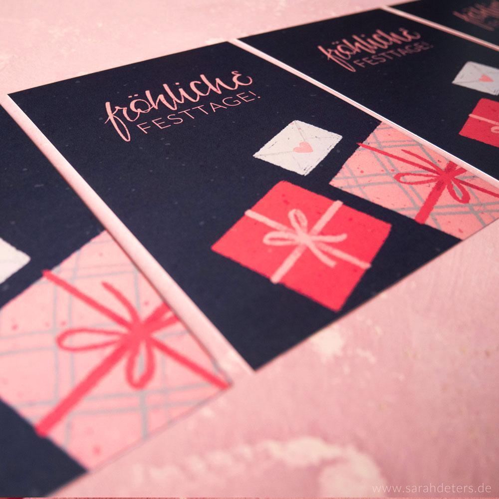 Moderne Geschenkanhänger und Grusskarten mit festlichem Motiv